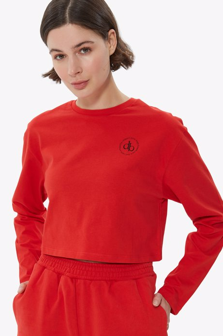 Picture of Red Crew Neck Long Sleeve Crop T-shirt