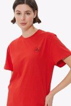 Picture of Red Front Printed Crew Neck Basic T-shirt
