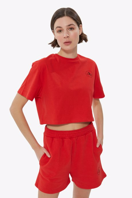 Picture of Red Crew Neck Crop T-shirt
