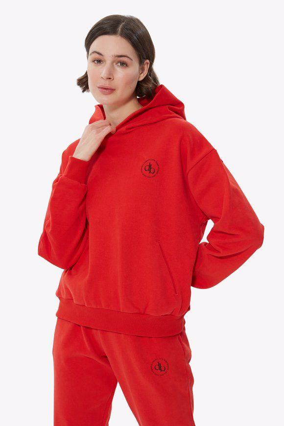 Picture of Red Hooded Basic Sweatshirt