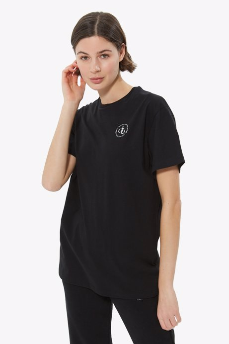 Picture of Black Front Printed Crew Neck Basic T-shirt