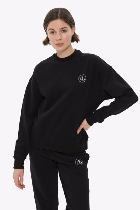 Picture of Black Crew Neck Basic Sweatshirt