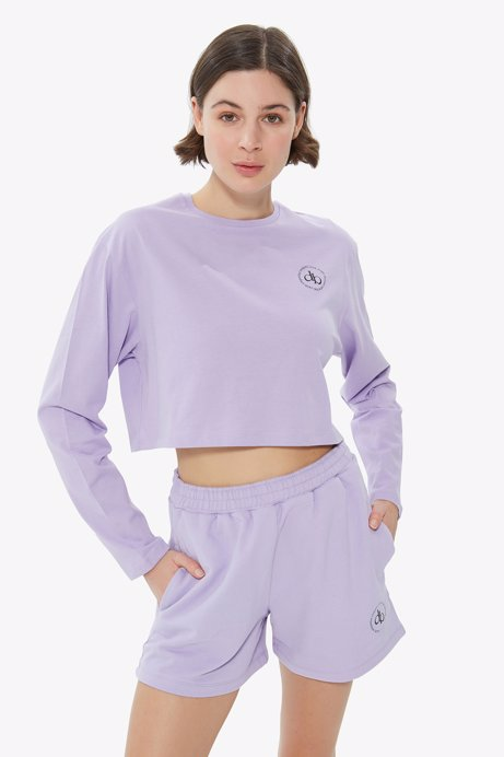 Picture of Lilac Crew Neck Long Sleeve Crop T-shirt