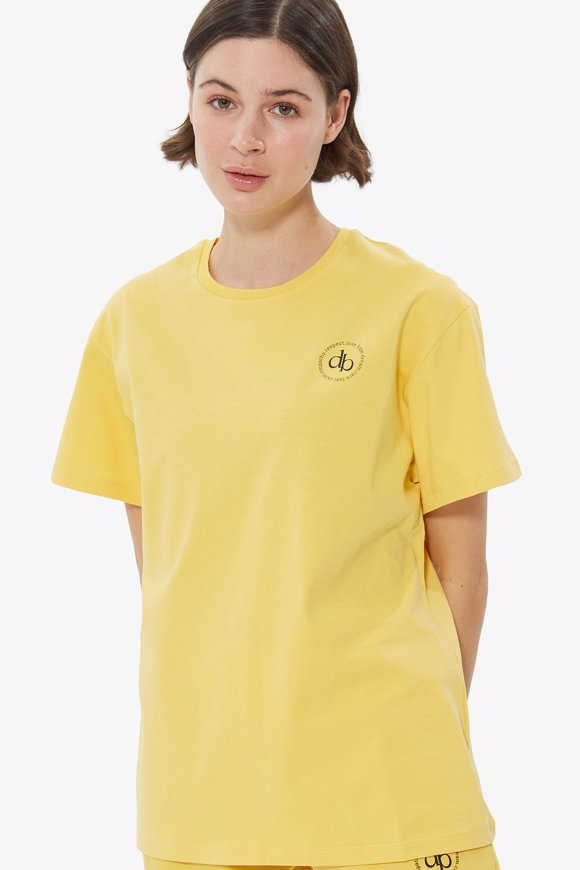 Picture of Yellow Front Printed Crew Neck Basic T-shirt