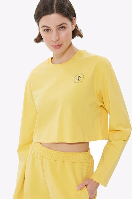 Picture of Yellow Crew Neck Long Sleeve Crop T-shirt