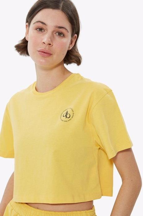 Picture of Yellow Crew Neck Crop T-shirt