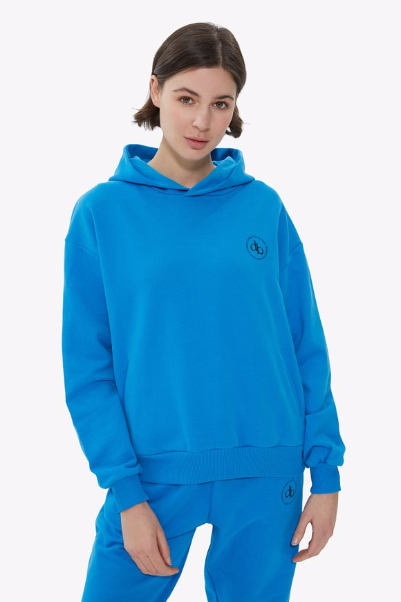 Picture of Blue Hooded Basic Sweatshirt