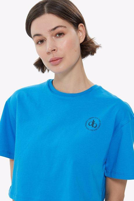 Picture of Blue Crew Neck Crop T-shirt