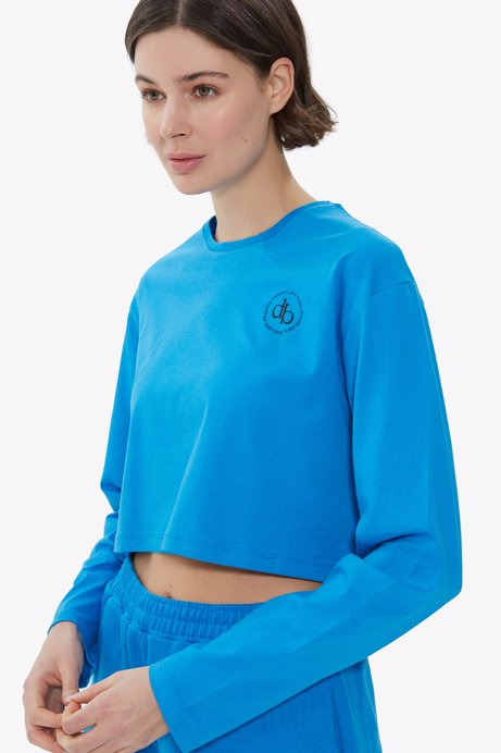Picture of Blue Crew Neck Long Sleeve Crop T-shirt