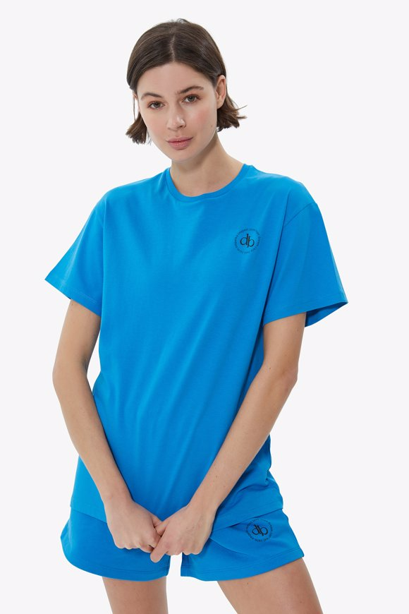 Picture of Blue Front Printed Crew Neck Basic T-shirt