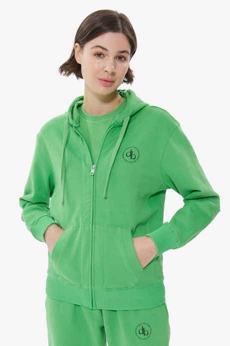 Picture of Green Hooded Zipper Sweatshirt