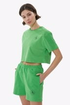 Yeşil Bisiklet Yaka Crop T-shirt resmi