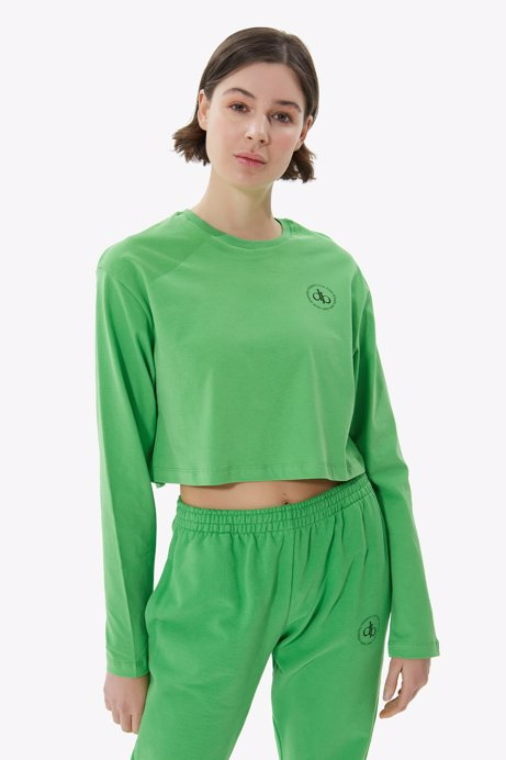 Picture of Green Crew Neck Long Sleeve Crop T-shirt