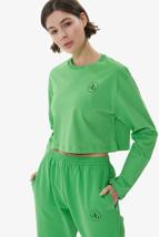 Yeşil Bisiklet Yaka Uzun Kol Crop T-shirt resmi