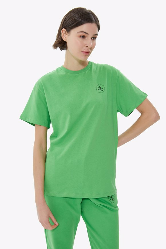 Picture of Green Front Printed Crew Neck Basic T-shirt