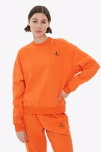 Picture of Orange Crew Neck Basic Sweatshirt