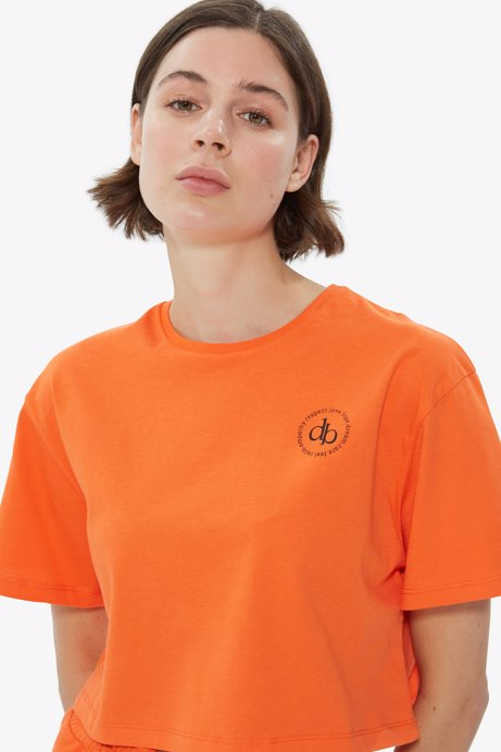 Picture of Orange Crew Neck Crop T-shirt