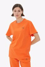 Picture of Orange Front Printed Crew Neck Basic T-shirt