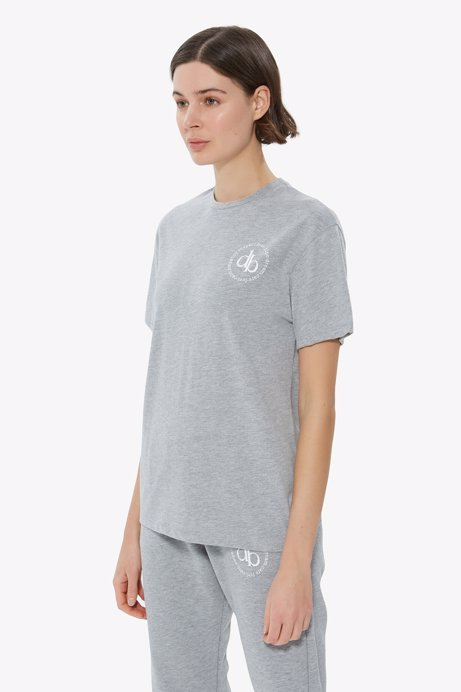 Picture of Grey Front Printed Crew Neck Basic T-shirt