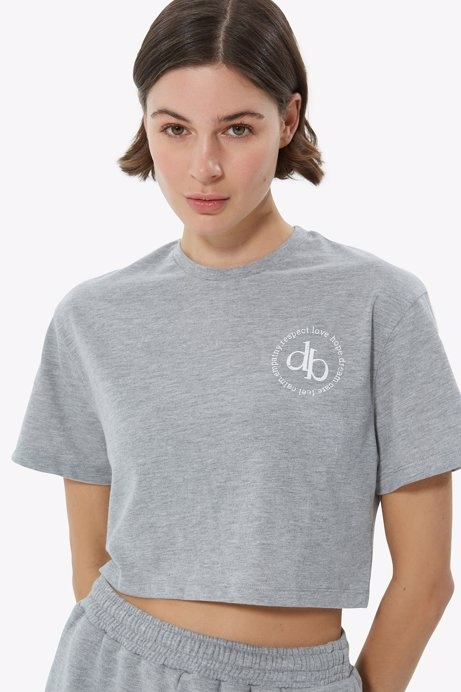 Picture of Grey Crew Neck Crop T-shirt