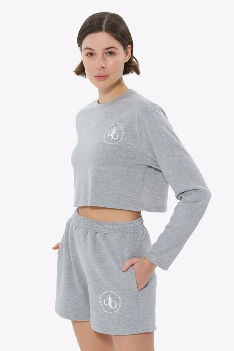 Picture of Grey Crew Neck Long Sleeve Crop T-shirt