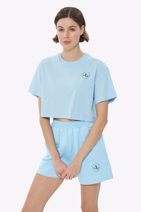 Picture of Baby Blue Crew Neck Crop T-shirt
