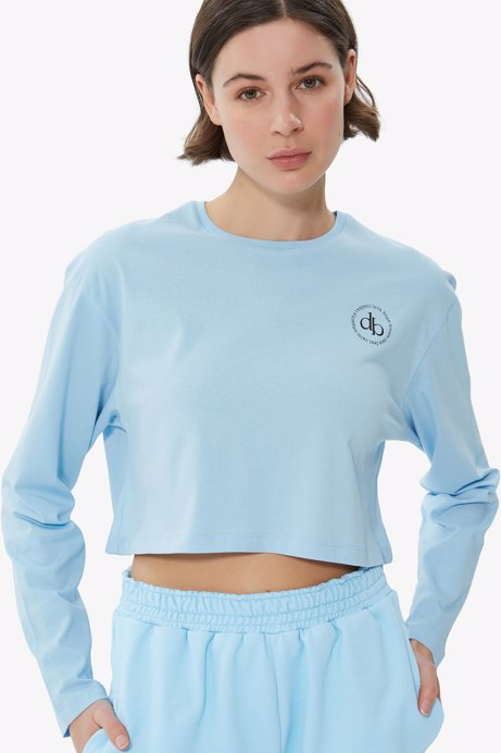 Picture of Baby Blue Crew Neck Long Sleeve Crop T-shirt