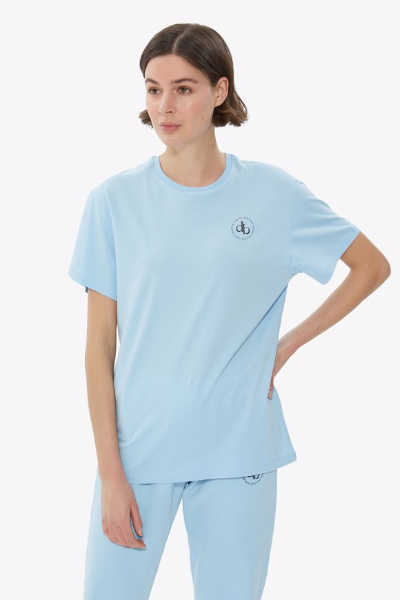 Picture of Baby Blue Front Printed Crew Neck Basic T-shirt