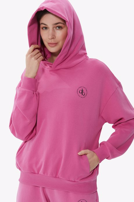 Picture of Pink Hooded Basic Sweatshirt