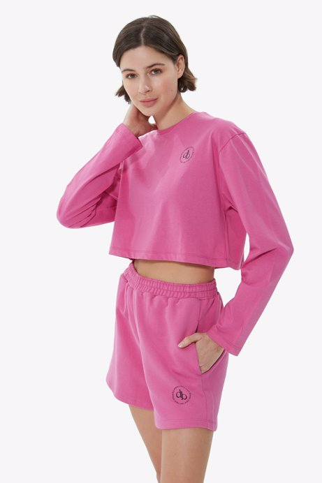 Picture of Pink Crew Neck Long Sleeve Crop T-shirt