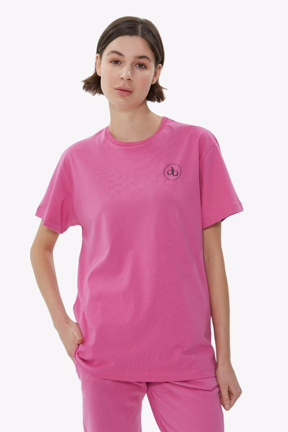 Picture of Pink Front Printed Crew Neck Basic T-shirt
