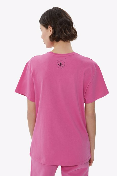 Picture of Pink Back Printed Crew Neck Basic T-shirt