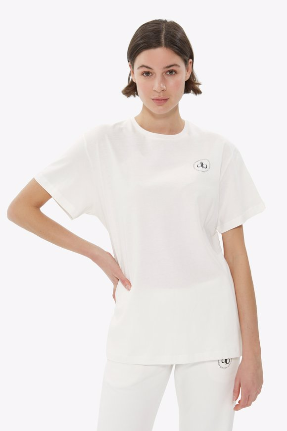 Picture of White Front Printed Crew Neck Basic T-shirt