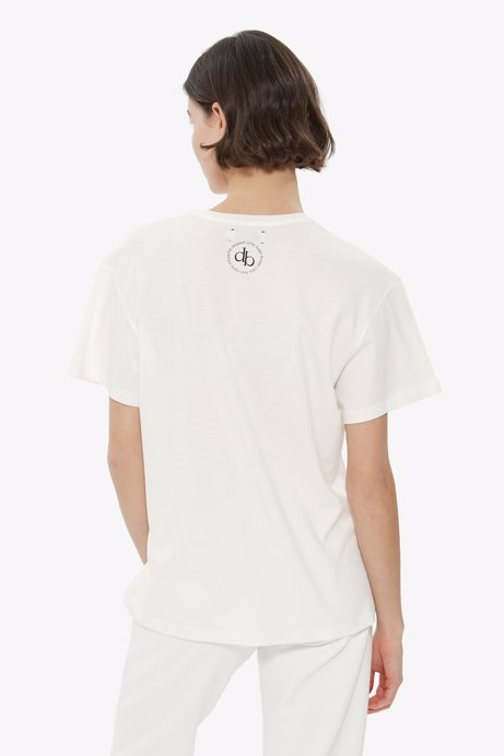 Picture of White Back Printed Crew Neck Basic T-shirt
